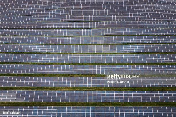 Aerial view to a solar field on September 10 2018 in Kodersdorf Germany