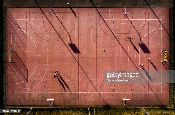Aerial view to a sports ground on October 06 2018 in Bogatynia Germany