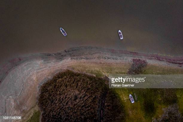 Aerial view to boats at a lake on September 10 2018 in Waldhufen Germany