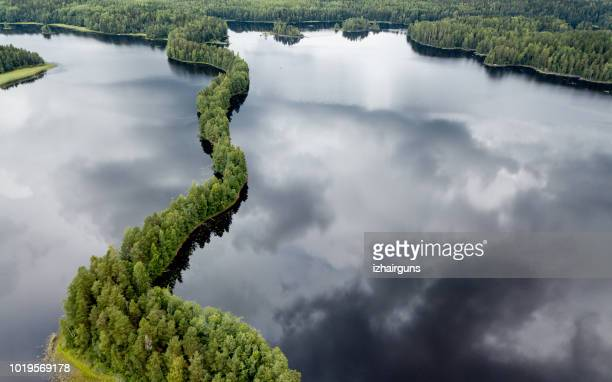 aerial view to liesjarvi national park, finland - lake stock pictures, royalty-free photos & images