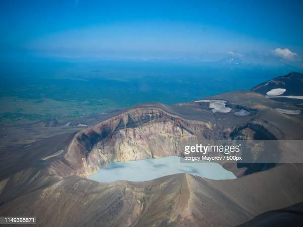 aerial view to maly semyachik volcano, kamchatka peninsula, russia - caldera stock pictures, royalty-free photos & images