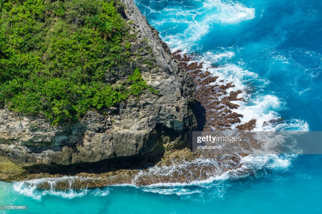 Aerial view to ocean waves. Blue water background. : Stock Photo