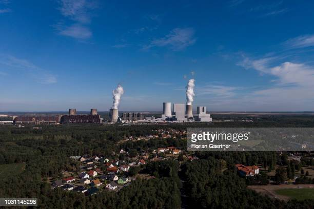 Aerial view to the lignitefired power station on September 10 2018 in Boxberg Germany