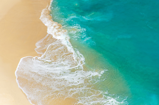 Aerial view to tropical sandy beach and blue ocean - gettyimageskorea