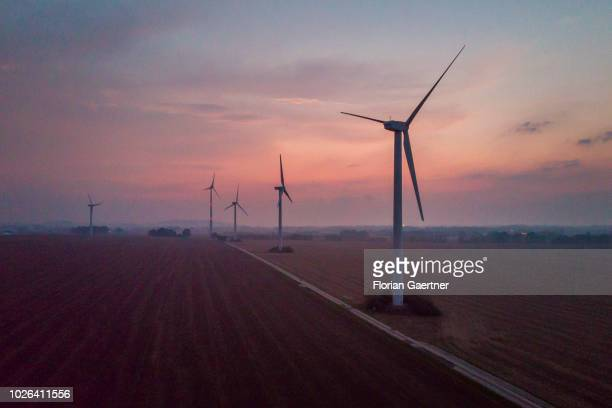 Aerial view to wind turbines during evening light on September 02 2018 in Melaune Germany