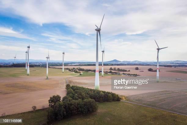 Aerial view to wind turbines on September 10 2018 in Kodersdorf Germany