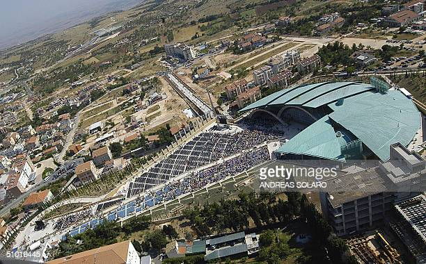 Aerial view took from the military aeronautical helicopter of Italian architect Renzo Piano's huge church dedicated to Padre Pio in San Giovanni...