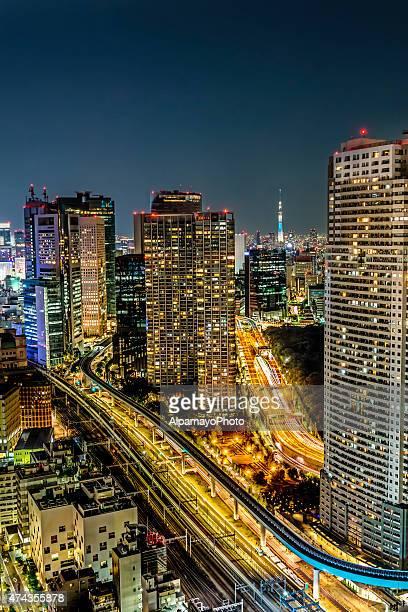 上空から見た東京、銀座に