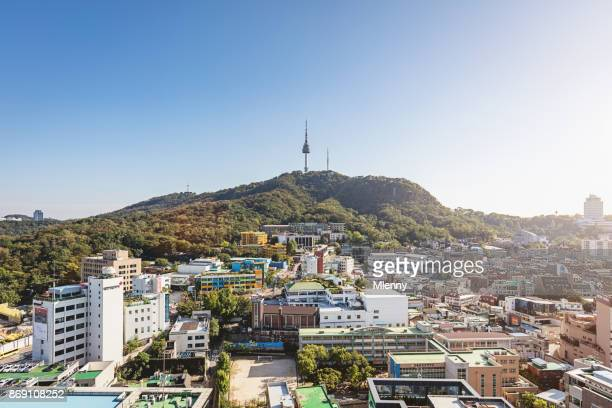 Aerial View towards N Seoul Tower and Seoul City
