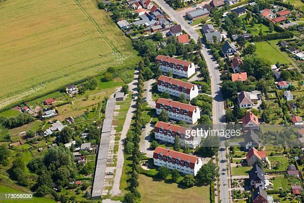 空から見た町には、ドイツの島 usedom - ウセドム ストックフォトと画像