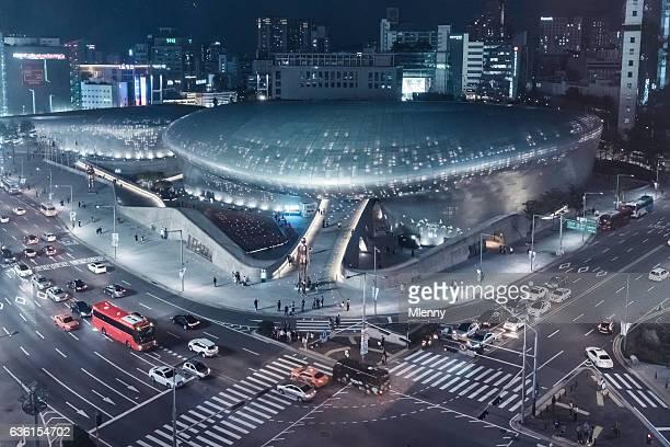 Aerial View Traffic Dongdaemun Design Plaza in Seoul South Korea