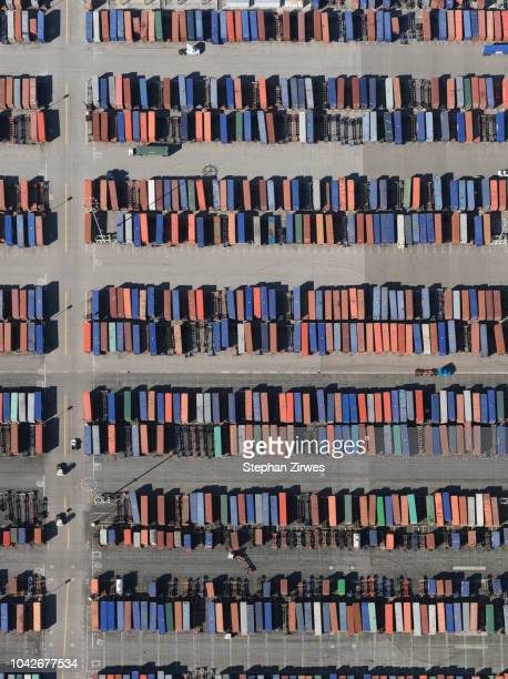 aerial view trains in sunny shunting yard, los angeles, california, usa - shunting yard stock photos and pictures