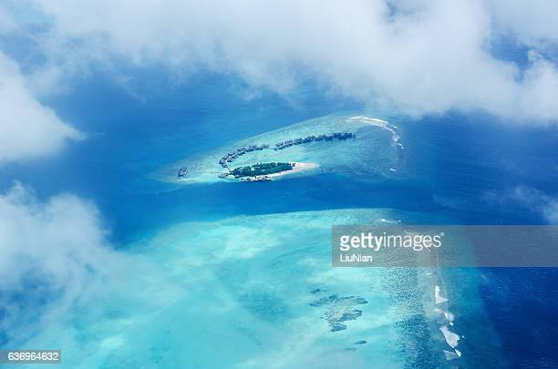 Aerial view tropical island resorts of maldives