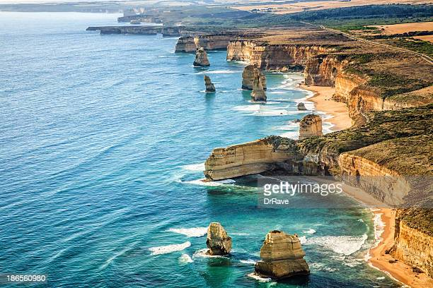 aerial view twelve apostles, port campbell national park at sunset - victoria australia stock pictures, royalty-free photos & images