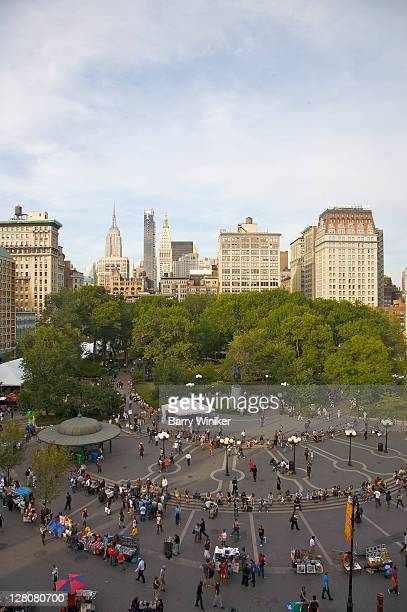 Aerial view, Union Square Park, looking north, New York, NY, U.S.A.