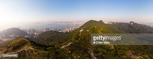 Aerial view Victoria peak and cityscape in Hong Kong