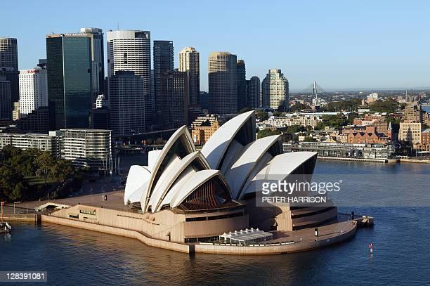 aerial view view of opera house, sydney, nsw, australia - sydney ストックフォトと画像