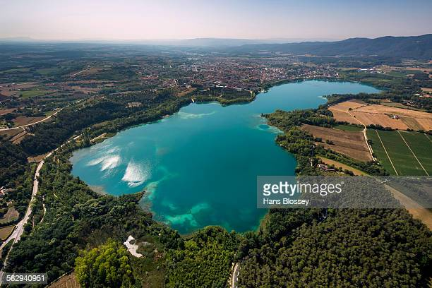 aerial view, view of the city of banyoles on the lake of banyoles, costa brava, catalonia, spain - banyoles stock pictures, royalty-free photos & images