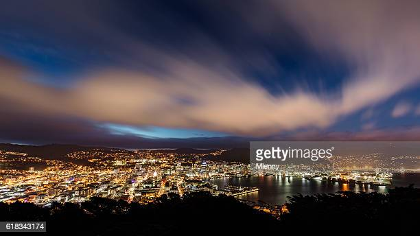 aerial view wellington city new zealand at night - wellington new zealand stock photos and pictures