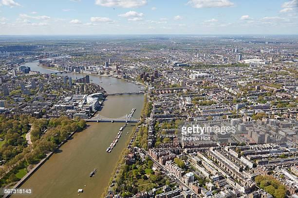 Aerial view west of Albert bridge and Battersea Bridge