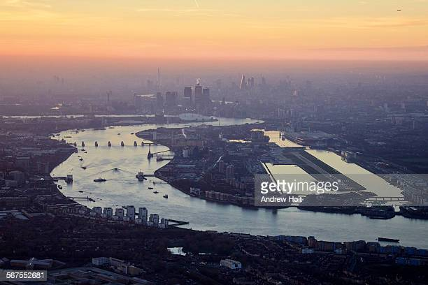 Aerial view West of Excel and London City Airport