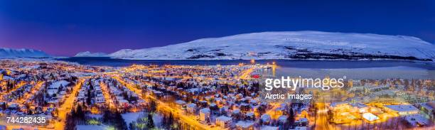 Aerial view - Wintertime in Akureyri, Northern, Iceland. This image is shot using a drone.