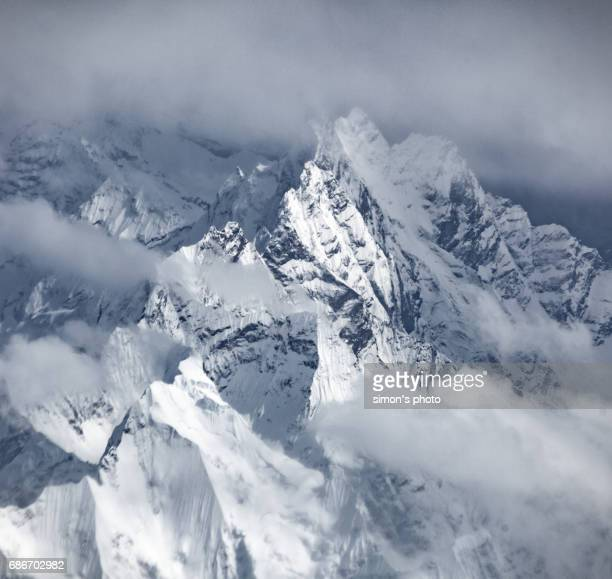 Aerial view with Himalayas mountain range