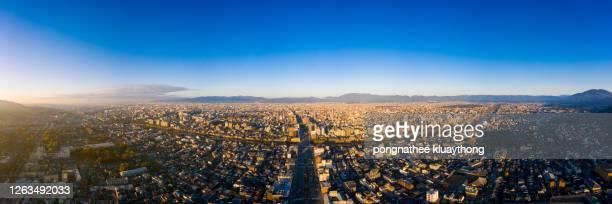 aerial view with skyscrapers and kyoto tower. - 360 fotografías e imágenes de stock