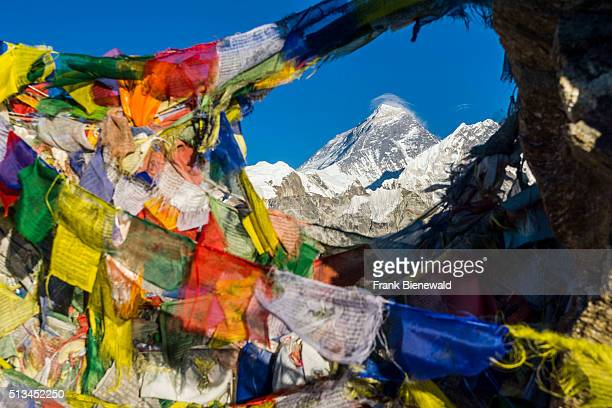 Aerial view with tbetean prayer flags from Gokyo Ri the mountain Mt Everest in the distance