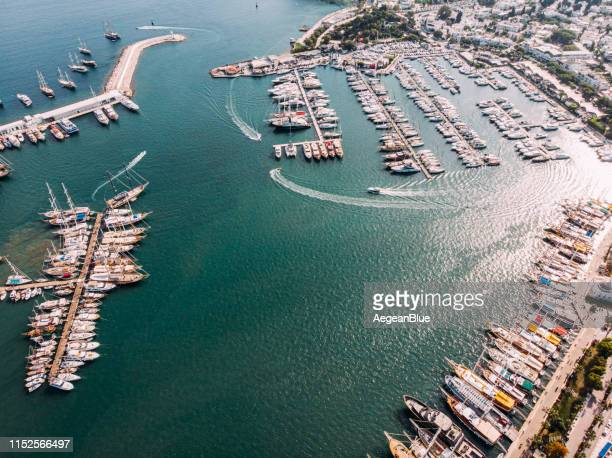 aerial view yachts in the bodrum marina - marina stock pictures, royalty-free photos & images