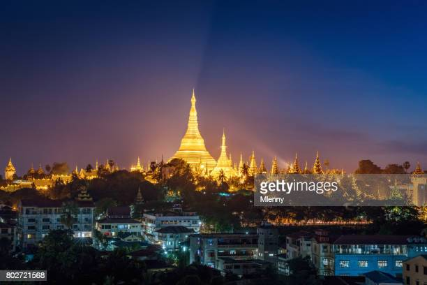 aerial view yangon night shwedagon pagoda myanmar - yangon stock pictures, royalty-free photos & images