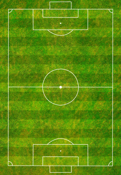 Aerial view/A beautiful soccer field waiting for footballers to compete to win.