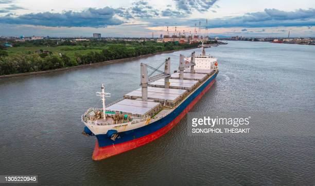 aerial view/a large bulk ship parked in the river waiting to load the cargo. - luggage hold stock pictures, royalty-free photos & images