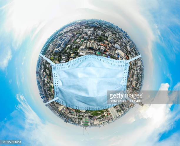aerial view/a world where people start to protect themselves by wearing a mask to protect against viruses and epidemics. - stress coronavirus stock pictures, royalty-free photos & images