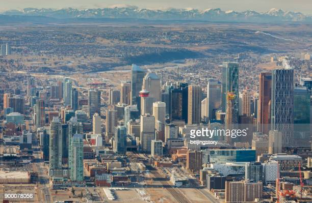 aerial view-city of calgary - calgary stock pictures, royalty-free photos & images