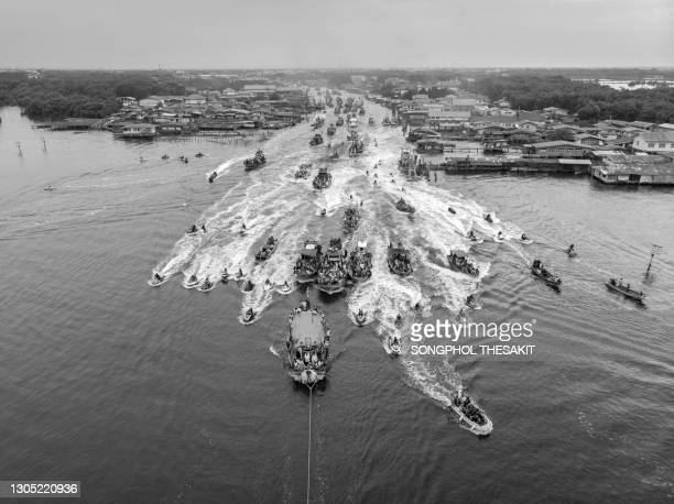 aerial view/fishing boat parade at bang hia temple. - parade stock pictures, royalty-free photos & images