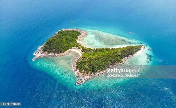 aerial view/koh kham / butterfly island is located in beautiful blue sea at sattahip, thailand. - chonburi province stock pictures, royalty-free photos & images