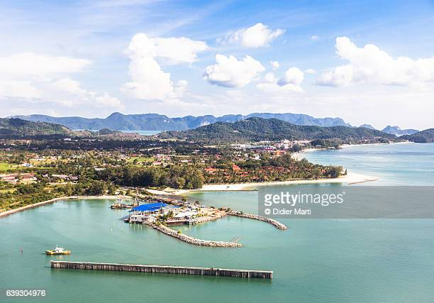 Aerial viewof Pantai Cenang beach in Langkawi, Malaysia