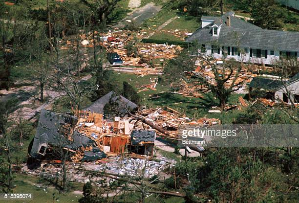 Aerial views made 8/18 of the devastation wrought by Hurricane Camille after the big storm lashed ashore with winds of nearly 200 miles per hour....