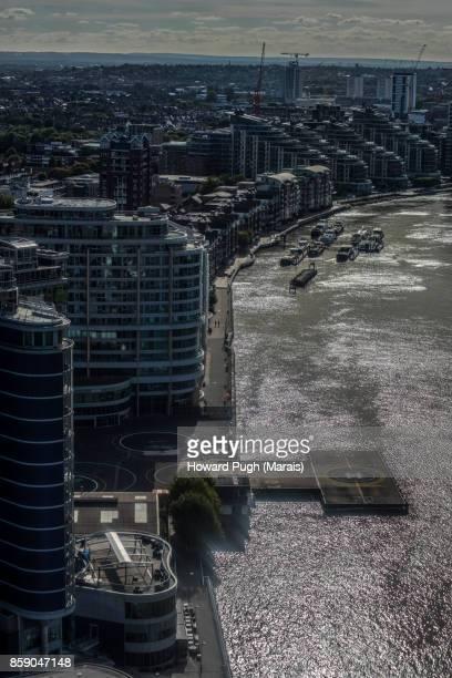 Aerial views of Battersea Upon Thames. Heli port.