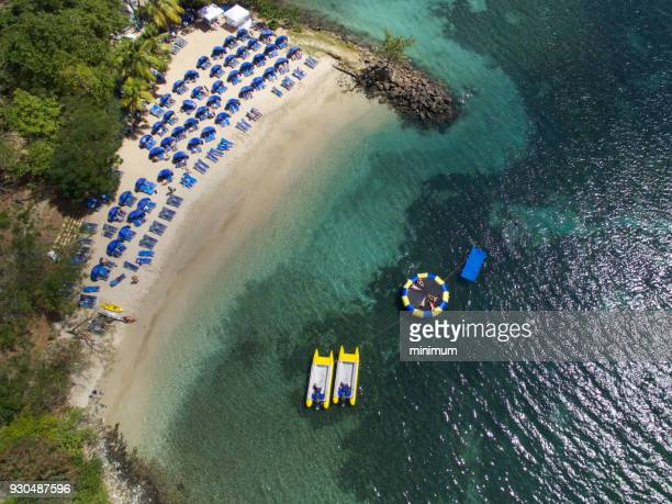 aerial views of caribbean beaches - lagoon stock pictures, royalty-free photos & images