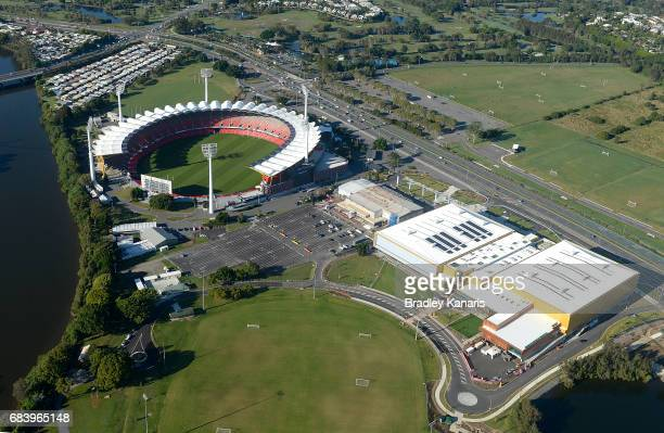 Aerial views of Carrara Stadium and the Carrara Sports and Leisure Centre can be seen they will be the venue for multiple sports events at the 2018...