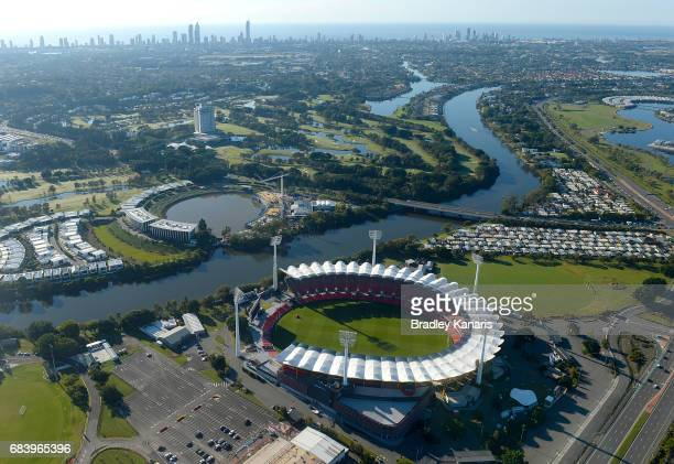 Aerial views of Carrara Stadium can be seen it will host the opening and closing ceremonies as well as the athletics events at the 2018 Commonwealth...