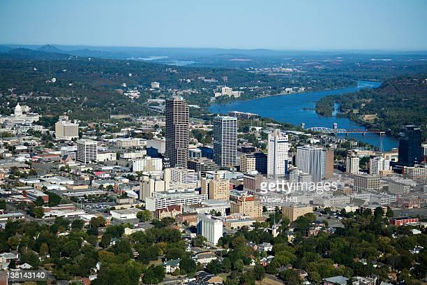 aerial views of downtown little rock, arkansas - arkansas fotografías e imágenes de stock