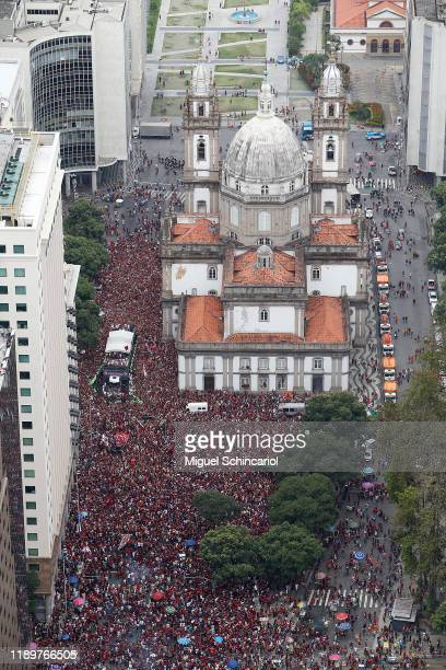 Aerial views of fans of Flamengo as they gather during the celebrations the day after Flamengo won the Copa CONMEBOL Libertadores at Igreja da...