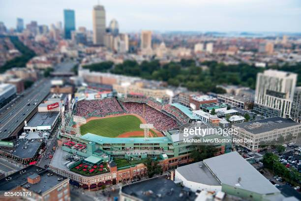 Aerial views of Fenway Park and surrounding neighborhoods on July 29 2017 in Boston Massachusetts