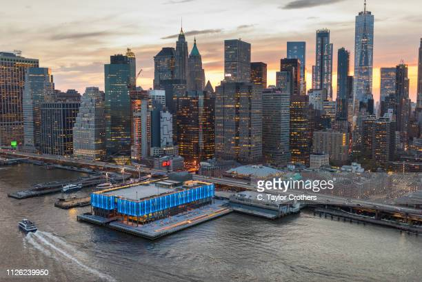 Aerial views of Howard Hughes Corporation's redevelopment of Pier 17, in New York City's South Street Seaport district, completed on May 2nd, 2018 in...