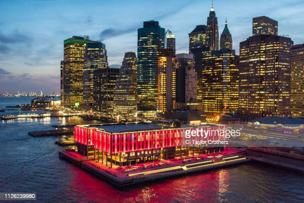 Aerial views of Howard Hughes Corporation's redevelopment of Pier 17 in New York City's South Street Seaport district completed on May 2nd 2018 in...