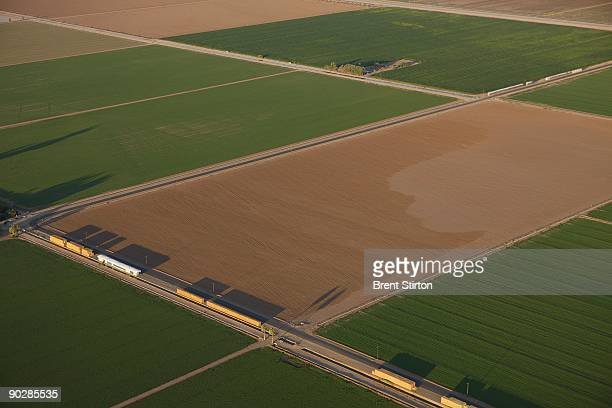 Aerial views of Imperial Valley an agricultural area which traditionally uses water from the Colorado river distributed through a series of canals...