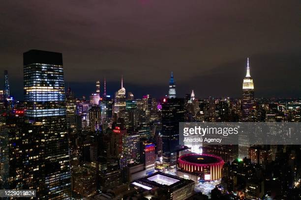 Aerial views of Madison Square Garden and the newly constructed Skylight and Empire State Building in New York City United States on October 12 2020